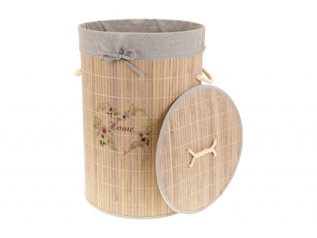 Koš prádelní z bambusu, kulatý, barva šedá s potiskem KD4440
