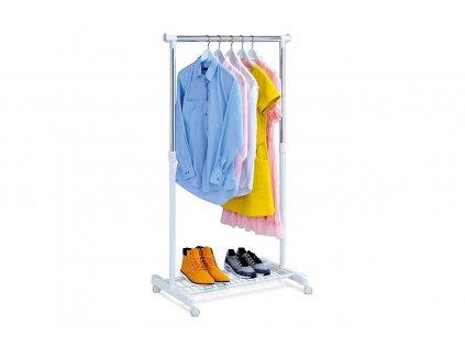 Stojan na šaty s odkladačem na boty, chrom / bílá ABD-1210 WT