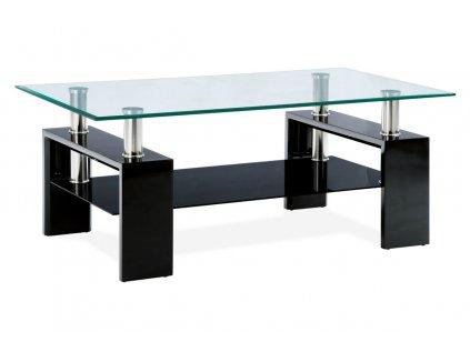Konferenční stolek 110x60x45 cm, černý lesk / čiré sklo 8 mm AF-1024 BK