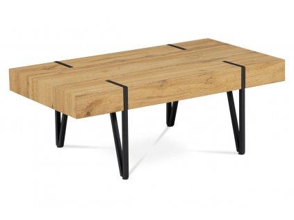 Konferenční stolek 110x60x42, MDF divoký dub, kov černá matná AHG-233 OAK