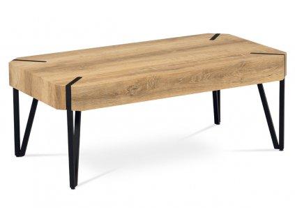 Konferenční stolek 110x60x43, MDF bělený dub, kov černý mat AHG-241 OAK2