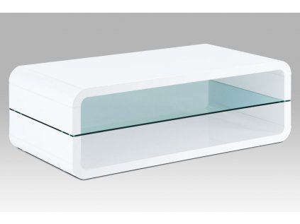 Konferenční stolek 120x60x40, MDF bílý vysoký lesk, čiré sklo AHG-612 WT