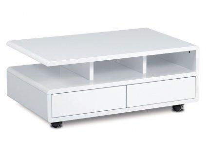 Konferenční stolek 100x60x41, MDF bílý vysoký lesk, 5 univerzální kolečka, 2 šuplíky AHG-620 WT