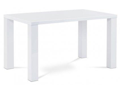 Jídelní stůl 135x80x76 cm, vysoký lesk bílý AT-3007 WT