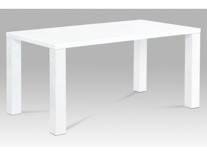 Jídelní stůl 160x90x76 cm, vysoký lesk bílý AT-3008 WT