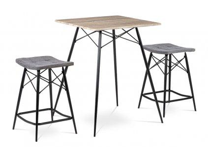 Barový set (1+2), MDF dub Sonoma, látka šedá, kov matná černá AUB-2005 SON