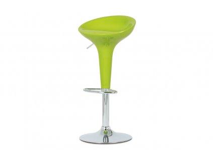 Barová židle, zelený plast / chrom AUB-9002 LIM