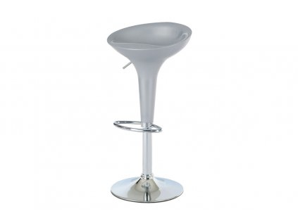 Barová židle, stříbrný plast / chrom AUB-9002 SIL