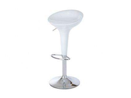 Barová židle, bílý plast / chrom AUB-9002 WT