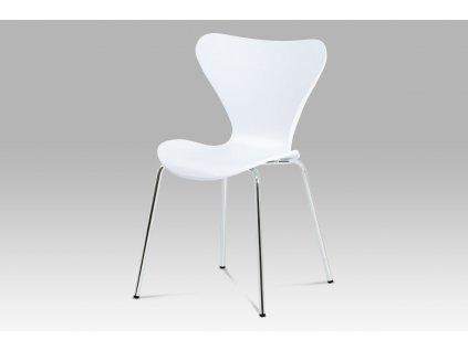 Jídelní židle, bílý plast s imitací dřeva / chrom AURORA WT