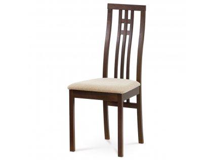 Jídelní židle masiv buk, barva ořech, potah krémový BC-2482 WAL