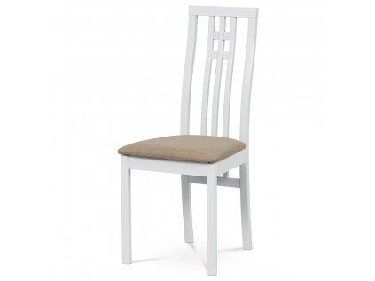 Jídelní židle masiv buk, barva bílá, potah béžový BC-2482 WT