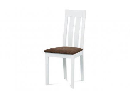 Jídelní židle masiv buk, barva bílá, potah hnědý BC-2602 WT