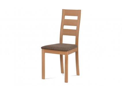 Jídelní židle masiv buk, barva buk, potah hnědý melír BC-2603 BUK3