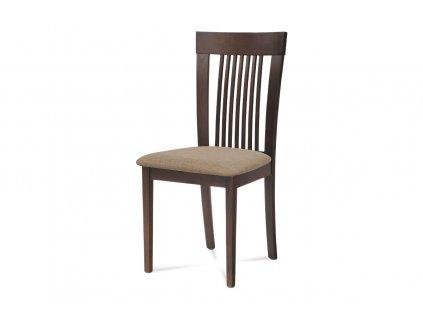 Jídelní židle, barva ořech, potah krémový BC-3940 WAL