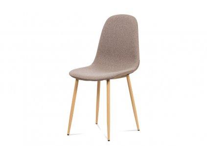 Jídelní židle, cappuccino látka-ekokůže, kov dub CT-391 CAP2