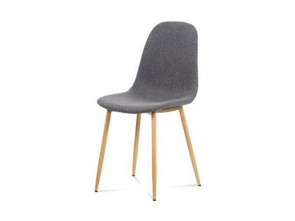 Jídelní židle, šedá látka-ekokůže, kov dub CT-391 GREY2