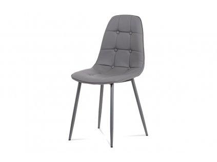 Jídelní židle, šedá ekokůže, kov antracit CT-393 GREY