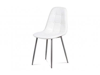 Jídelní židle, bílá ekokůže, kov antracit CT-393 WT