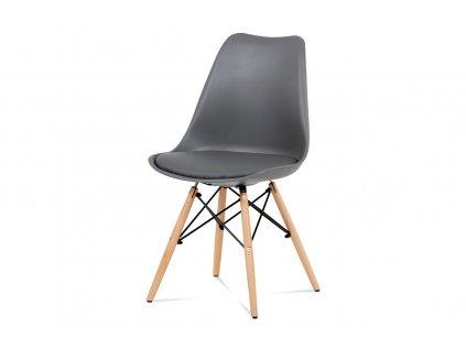 Jídelní židle šedý plast / šedá koženka / natural CT-741 GREY