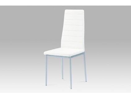 Jídelní židle koženka bílá / šedý lak DCL-117 WT