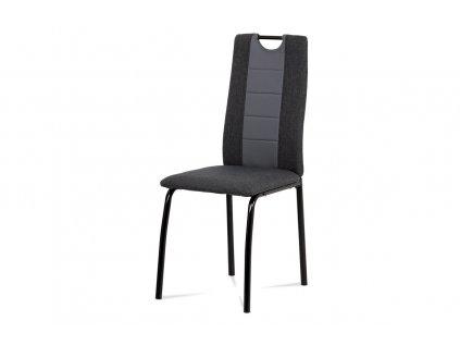 Jídelní židle, látka antracit + šedá ekokůže, kov matná černá DCL-399 GREY