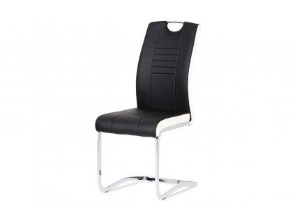 Jídelní židle chrom / koženka černá s bílými boky DCL-406 BK