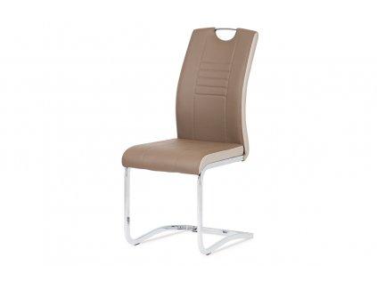 Jídelní židle chrom / koženka coffee + cappucino boky DCL-406 COF