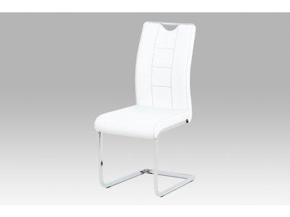 Jídelní židle bílá koženka / chrom DCL-411 WT