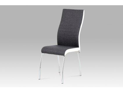 Jídelní židle šedá látka + bílá koženka / chrom DCL-433 GREY2