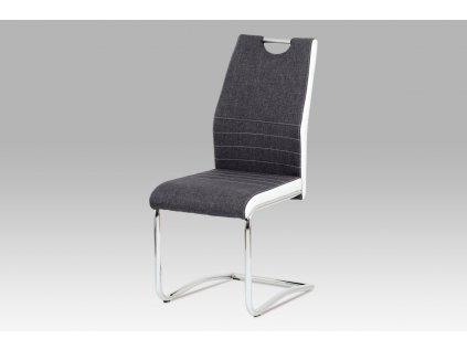Jídelní židle šedá látka + bílá koženka / chrom DCL-444 GREY2
