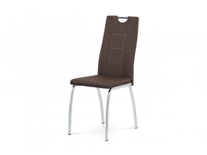 Jídelní židle, hnědá látka, kov chrom DCL-466 BR2