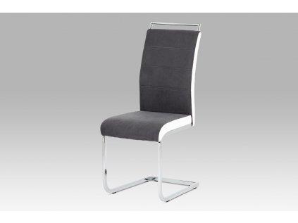 Jídelní židle šedá látka + bílá koženka / chrom DCL-966 GREY2