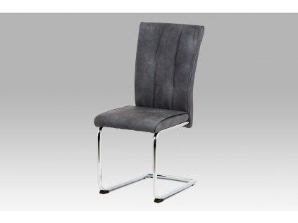 Jídelní židle koženka šedá / chrom DCH-192 GREY