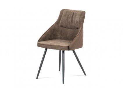 Jídelní židle, lanýžová látka+ekokůže, kov šedý mat DCH-202 LAN2