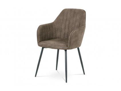 Jídelní židle, hnědá látka, kov šedá mat DCH-222 BR3