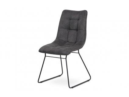 Jídelní židle, šedá látka, kov matná černá DCH-414 GREY3