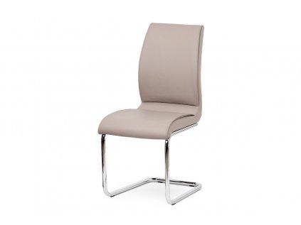 Jídelní židle koženka lanýžová / chrom DCH-575 LAN