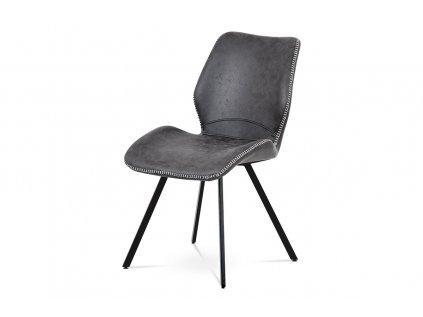 Jídelní židle, šedá látka vintage, kov černý mat HC-440 GREY3