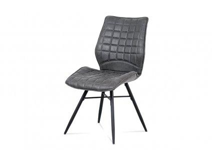 Jídelní židle, šedá látka vintage, kov černý mat HC-444 GREY3