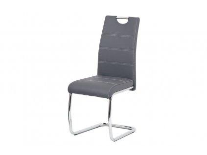 Jídelní židle, šedá ekokůže, bílé prošití, kov chrom HC-481 GREY