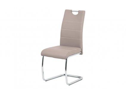 Jídelní židle, béžová ekokůže, bílé prošití, kov chrom HC-481 LAN