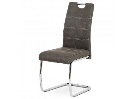 Jídelní židle, antracit látka COWBOY, bílé prošití, kov chrom HC-483 GREY3