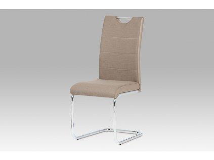 Jídelní židle, látka cappuccino / boky koženka lanýž / chrom HC-582 CAP2