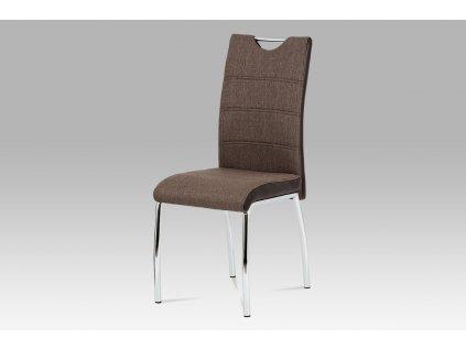 Jídelní židle coffee látka + hnědá koženka / chrom HC-586 COF2