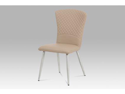 Jídelní židle koženka cappuccino / broušený nerez HC-666 CAP