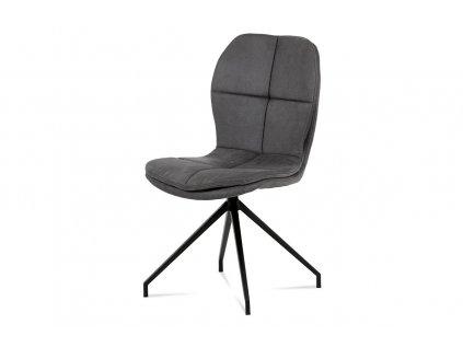 """Jídelní židle, šedá látka """"COWBOY"""", kov černá HC-710 GREY3"""