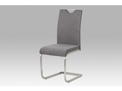 Jídelní židle látka šedá + koženka šedá / broušený nerez HC-921 GREY2