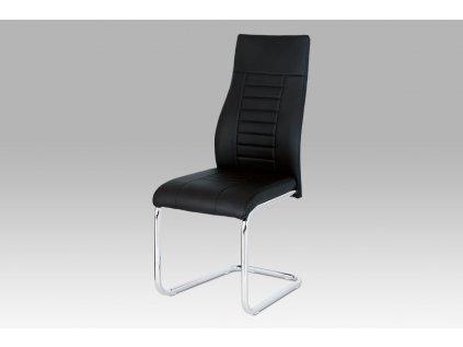 Jídelní židle, černá koženka / chrom HC-955 BK