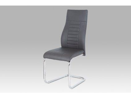Jídelní židle, šedá koženka / chrom HC-955 GREY